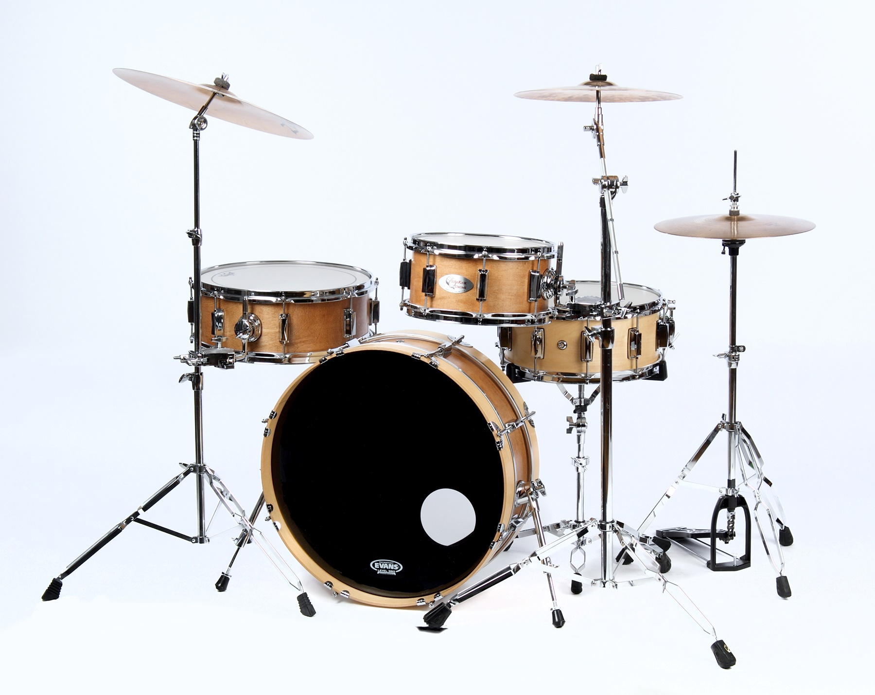 skinny small drum set burnt orange side kick drums